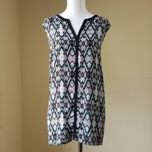 Pure Energy Blouse Top Sz 2X Black White Geometric
